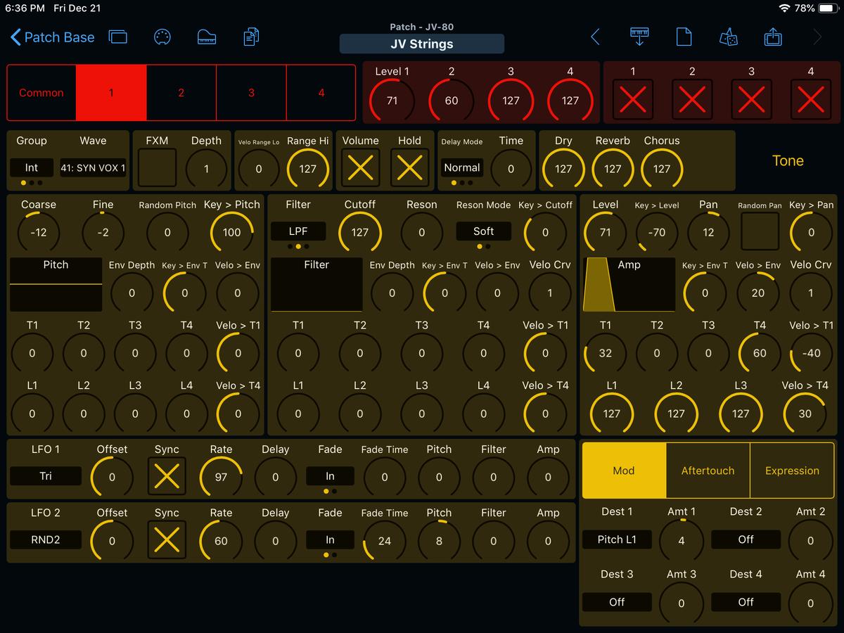 Roland JV-80 Editor Screenshot