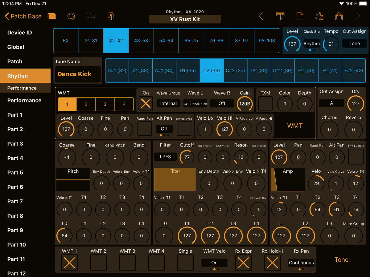 Roland XV-2020 Editor Screenshot