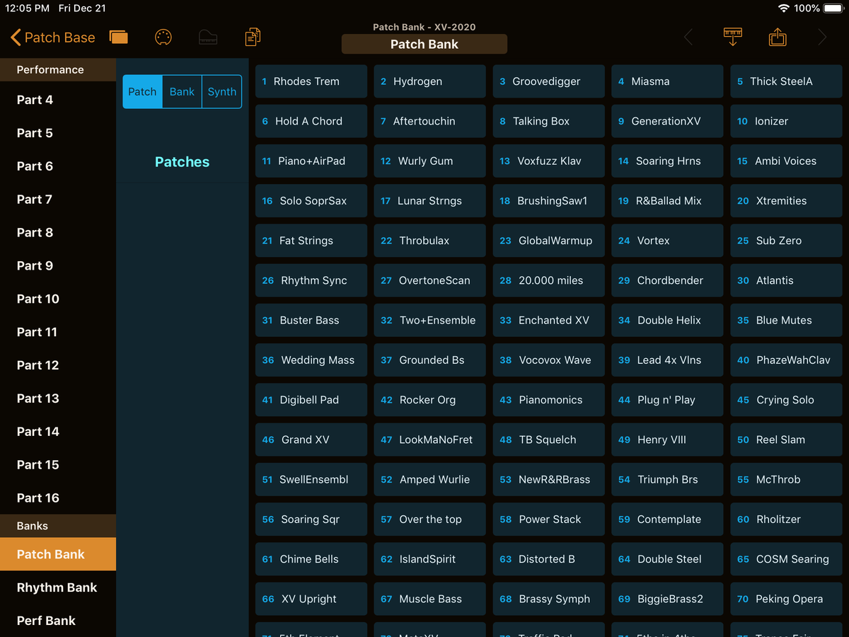 Roland XV-2020 Editor Screenshot