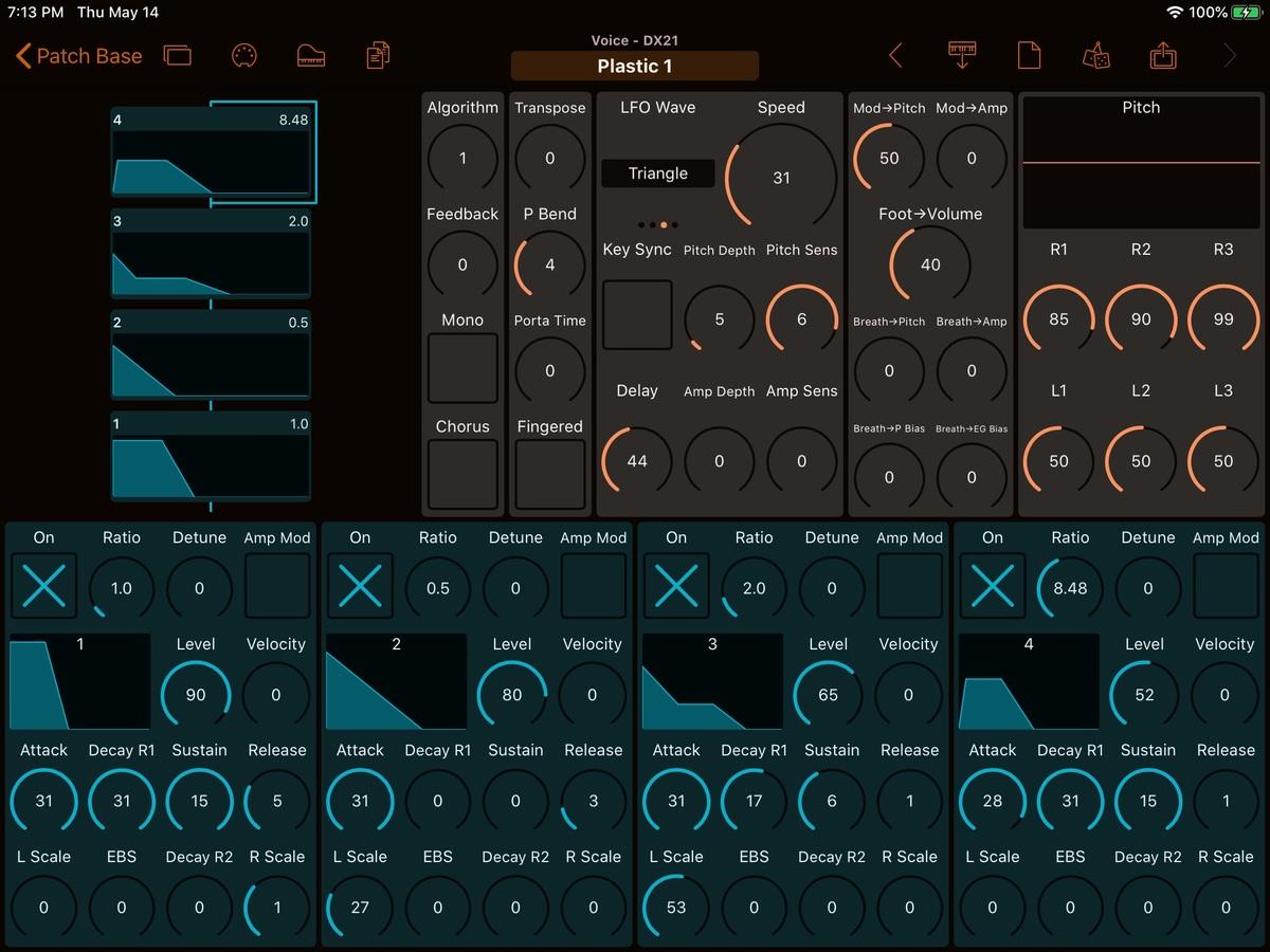Yamaha DX21 Editor Screenshot