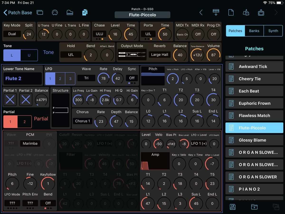 Roland D-550 Editor Screenshot
