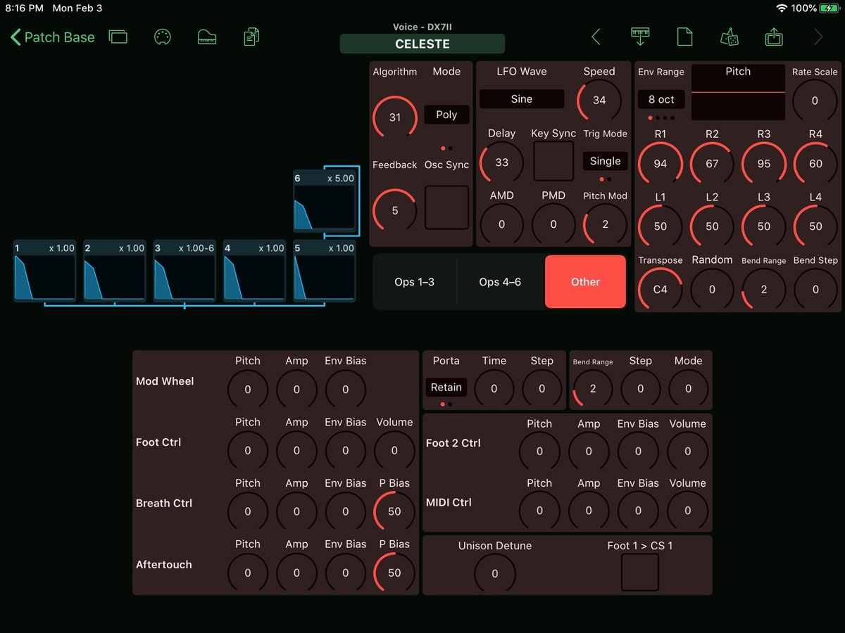 Yamaha DX7II Editor Screenshot