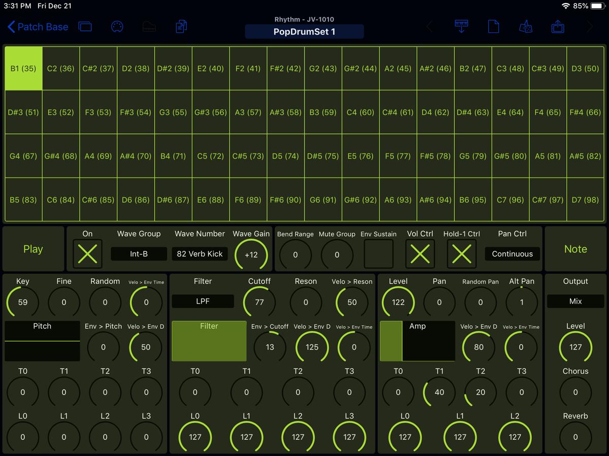 Roland JV-1010 Editor Screenshot