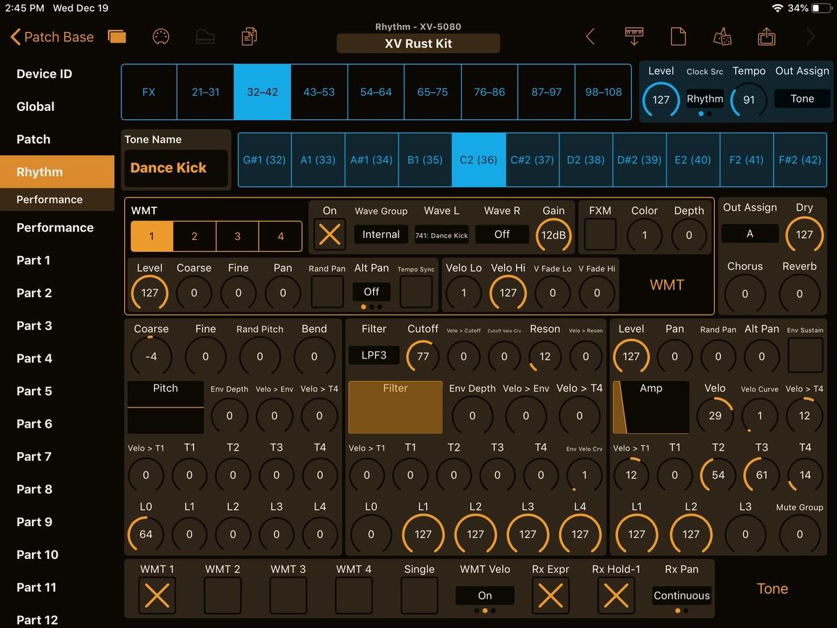 Roland XV-5080 Editor Screenshot