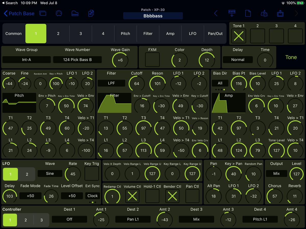 Roland XP-30 Editor Screenshot