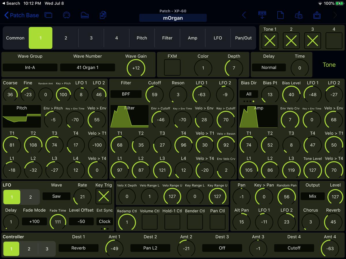 Roland XP-60 Editor Screenshot