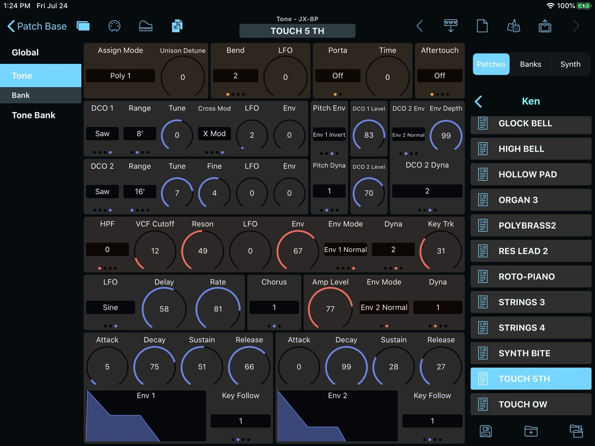 Roland JX-8P Editor Screenshot
