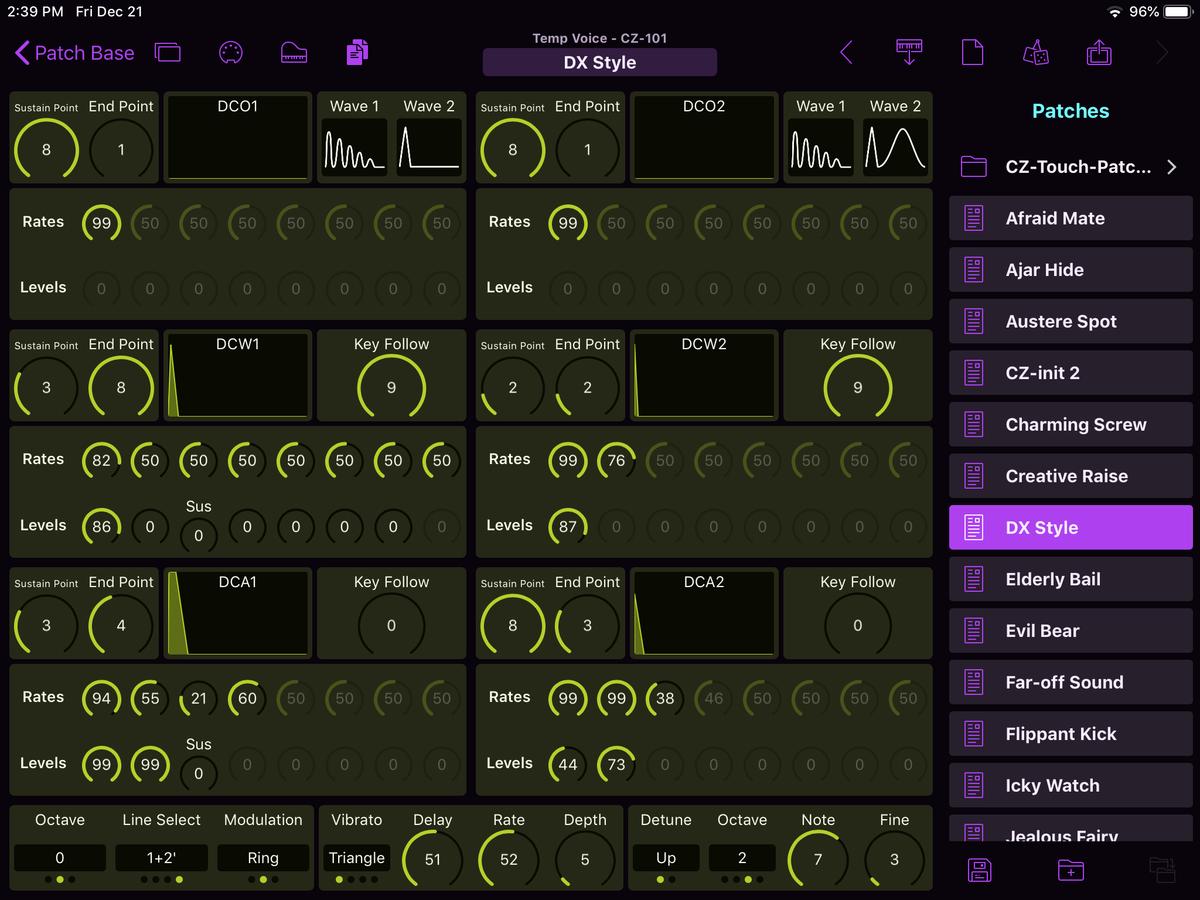 Casio CZ-101 Editor Screenshot