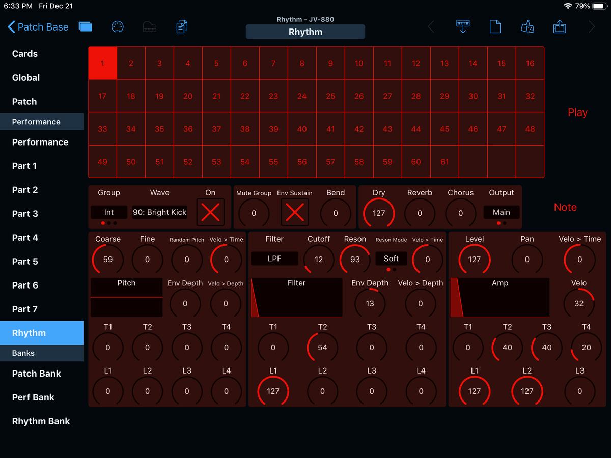 Roland JV-880 Editor Screenshot