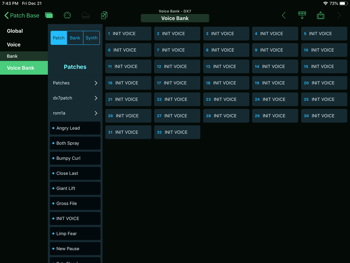 Yamaha DX7 Editor Screenshot
