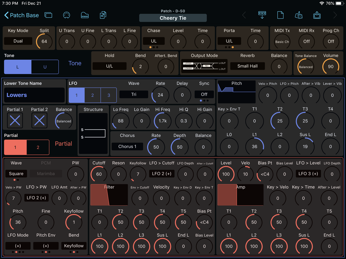 Roland D-50 Editor Screenshot