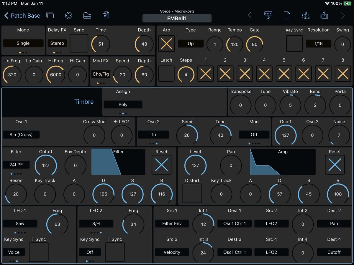 Korg microKorg Editor Screenshot