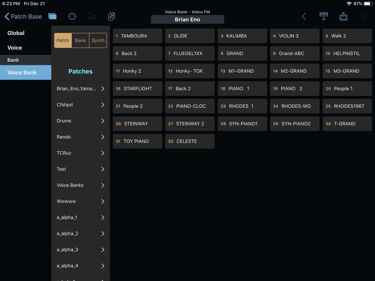 Korg Volca FM Editor Screenshot