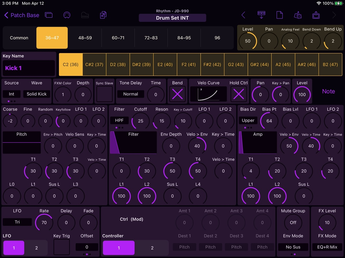 Roland JD-990 Editor Screenshot
