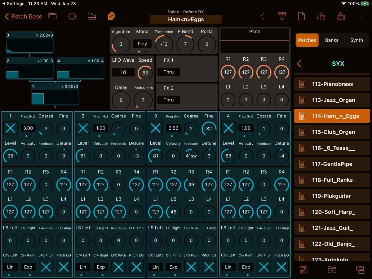 Yamaha Reface DX Editor Screenshot