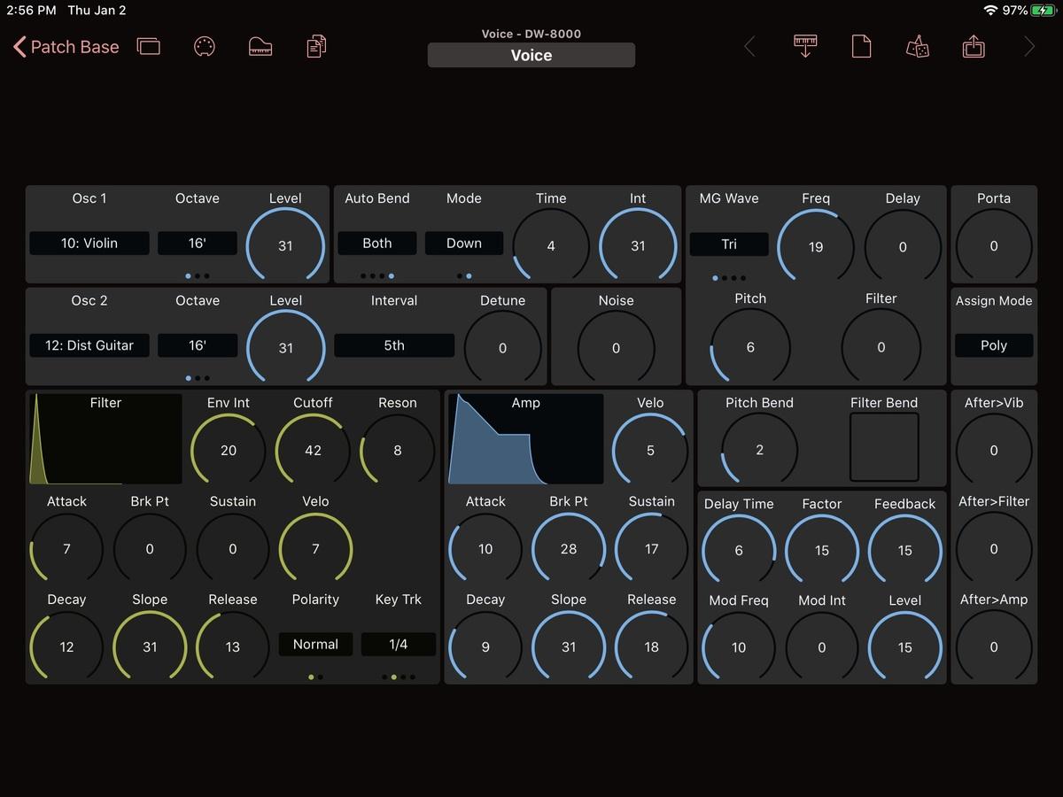 Korg DW-8000 Editor Screenshot
