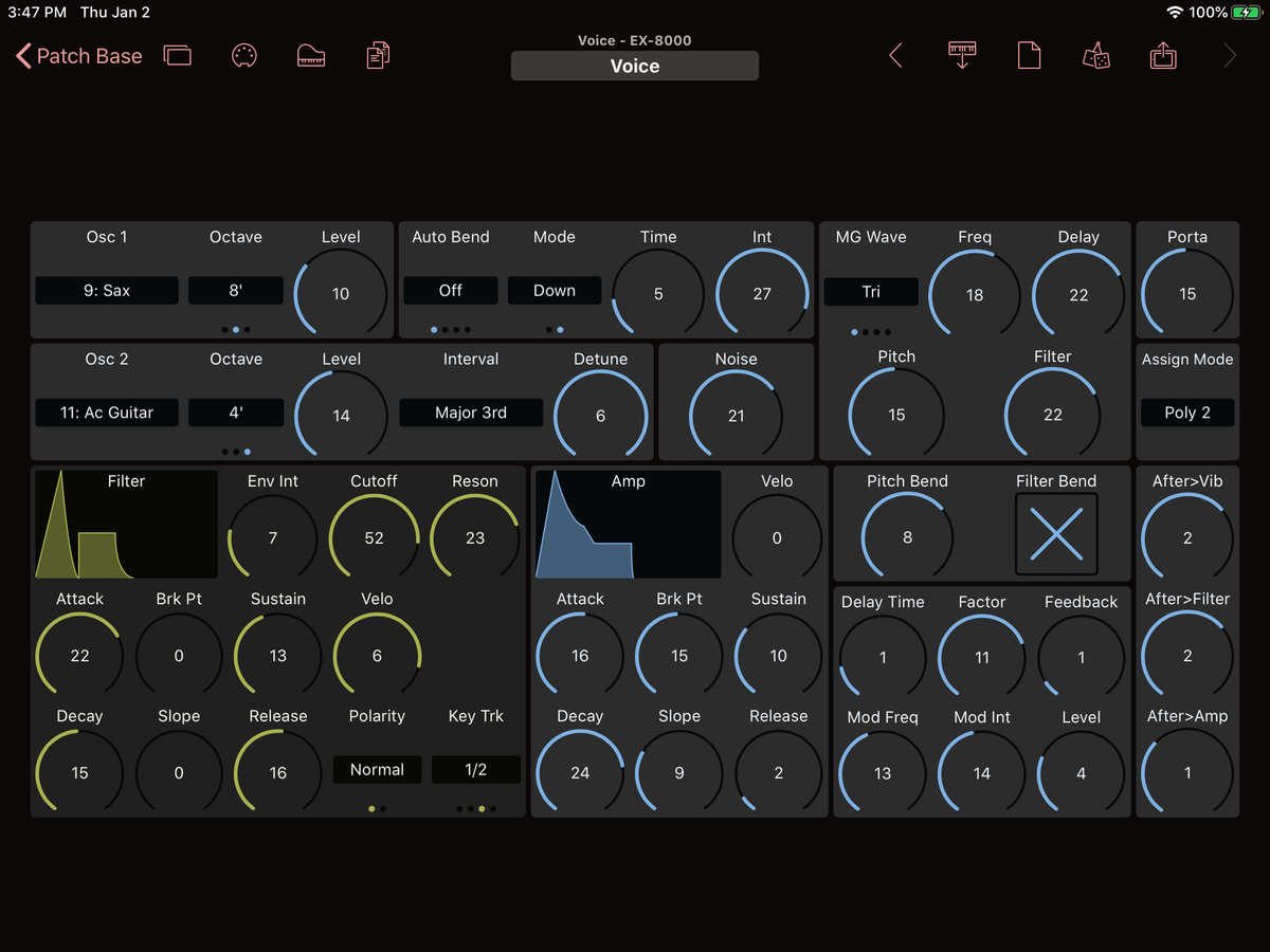 Korg EX-8000 Editor Screenshot
