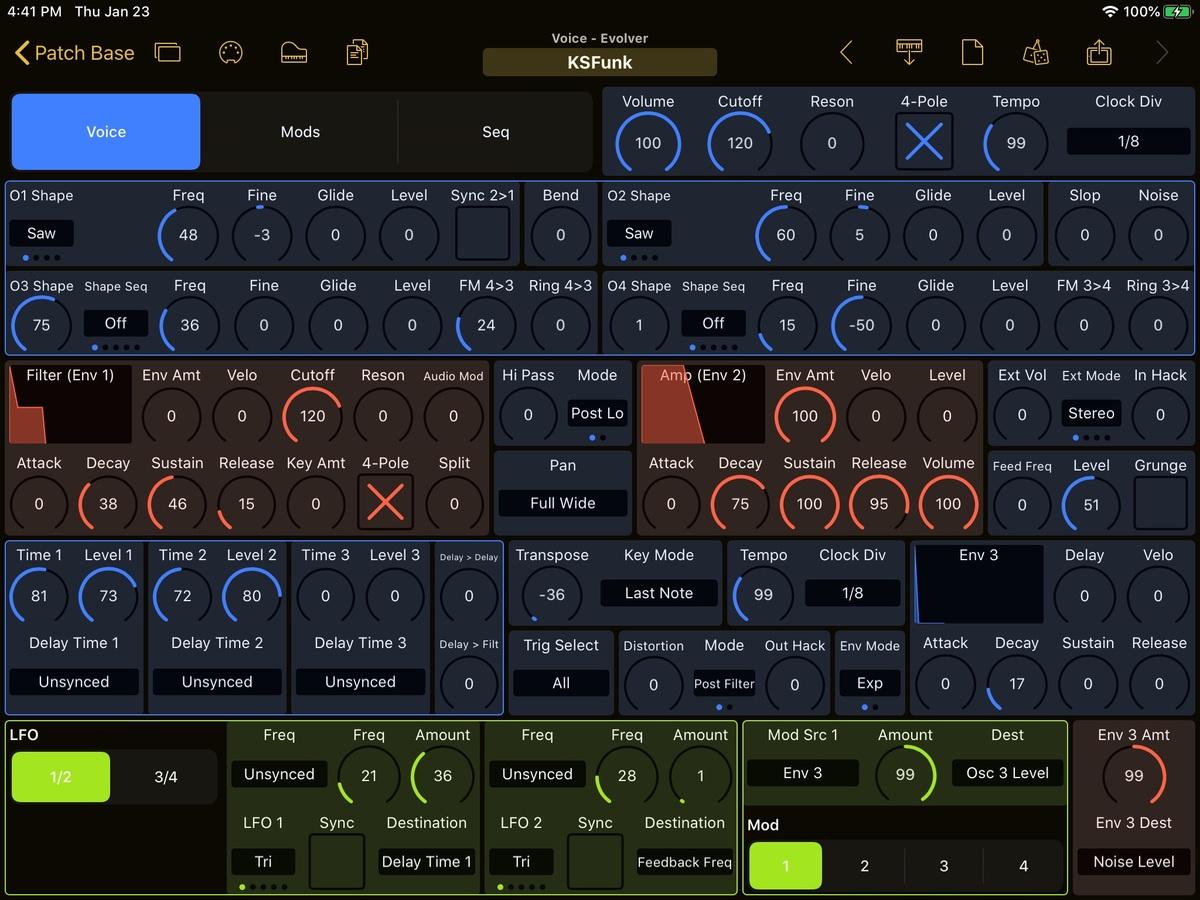 Dave Smith Instruments Evolver Editor Screenshot