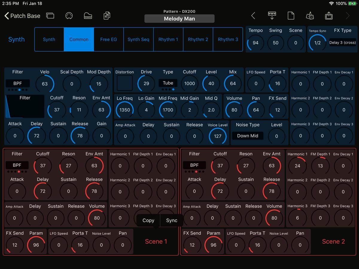 Yamaha DX200 Editor Screenshot