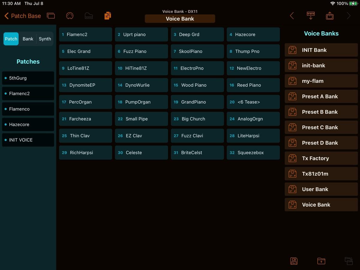 Yamaha DX11 Editor Screenshot