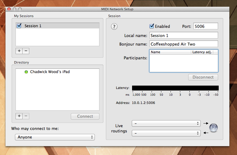 Network MIDI Configuration Screenshot