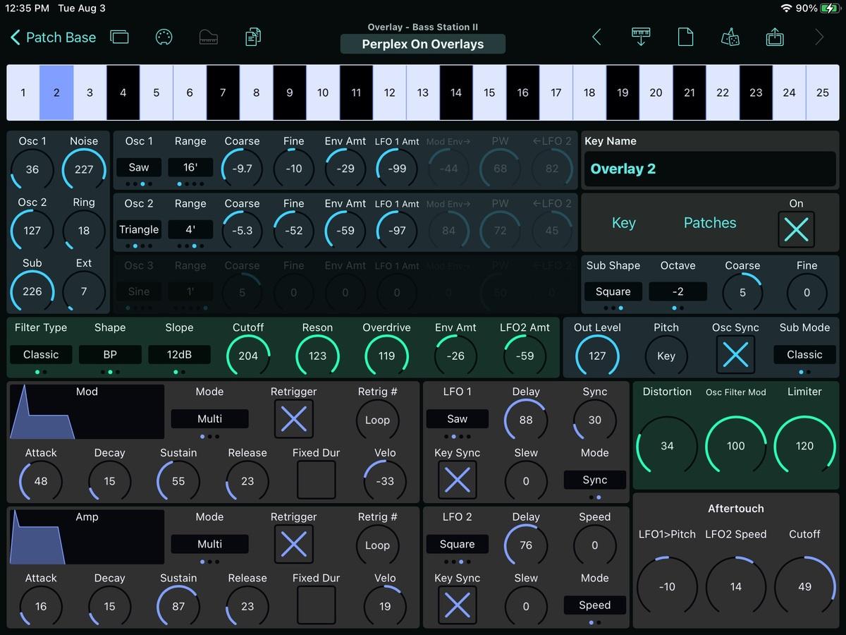 Novation Bass Station II Editor Screenshot