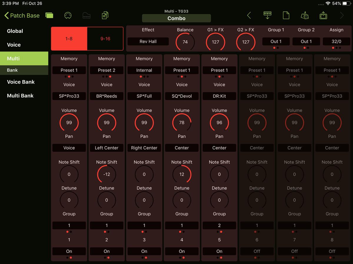 Yamaha TG33 Editor Screenshot