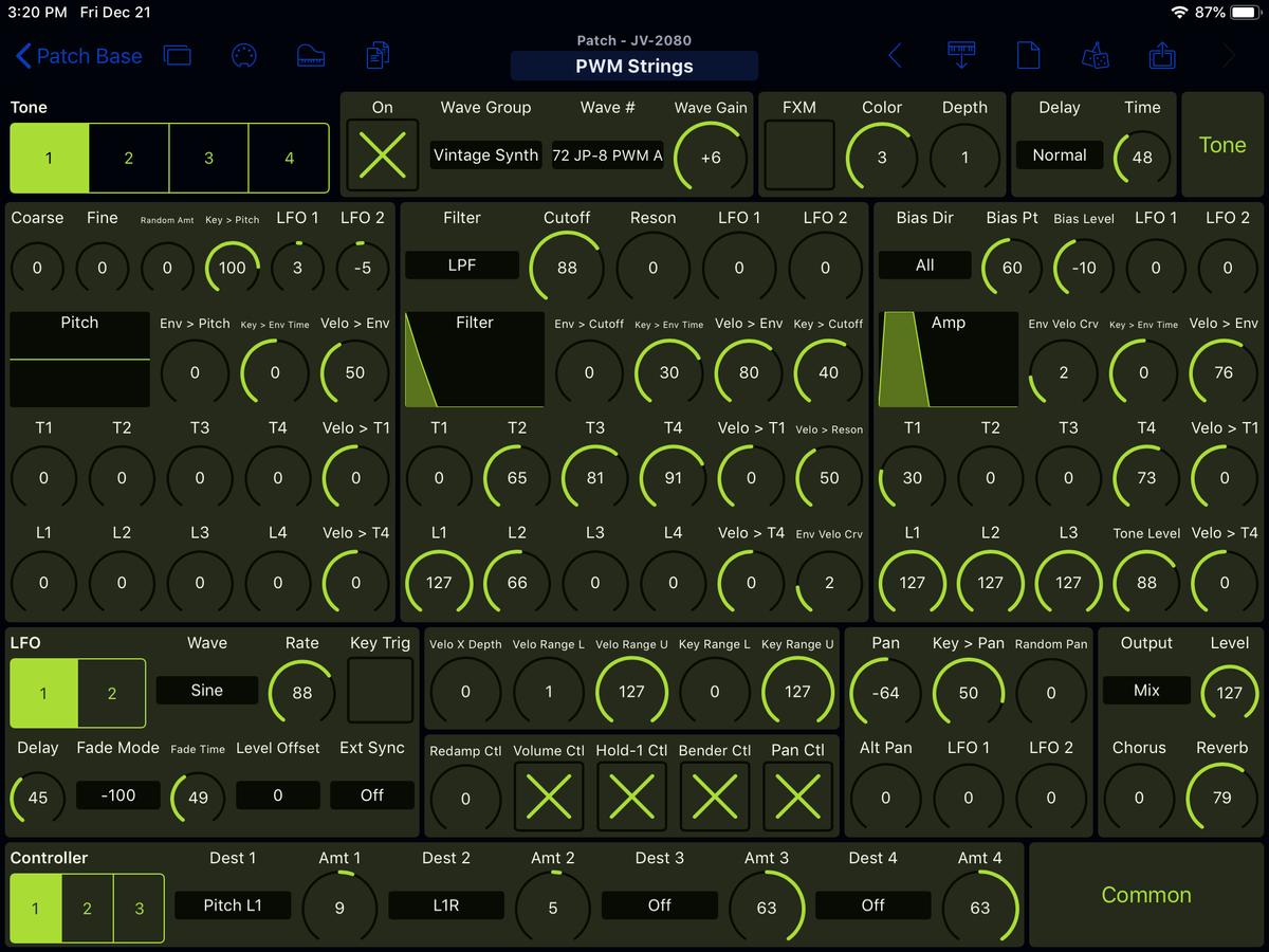 Roland JV-2080 Editor Screenshot