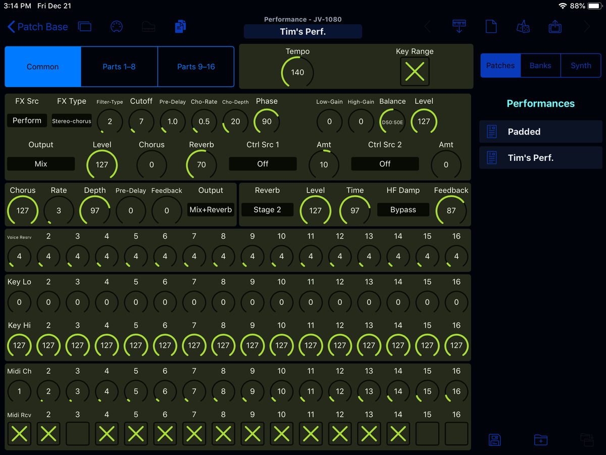 Roland JV-1080 Editor Screenshot