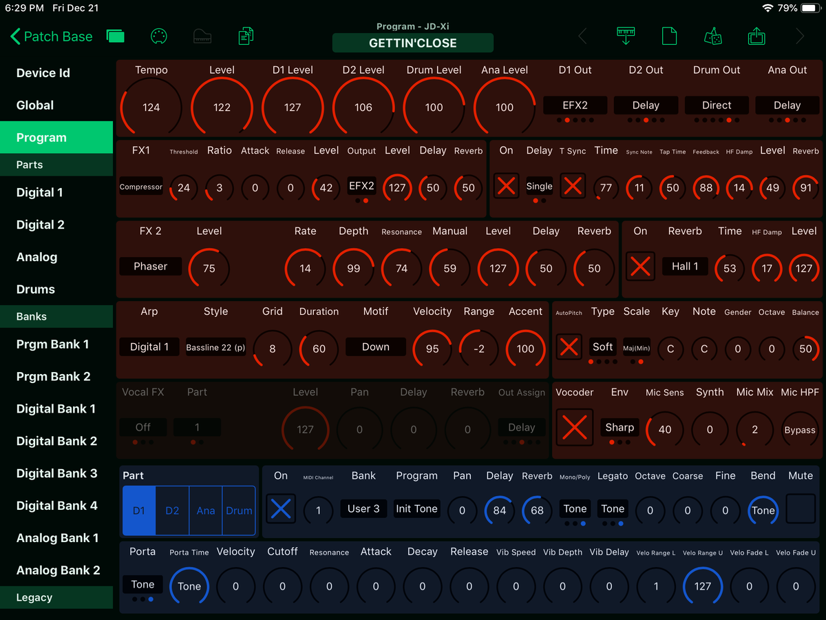Roland JD-Xi Editor Screenshot