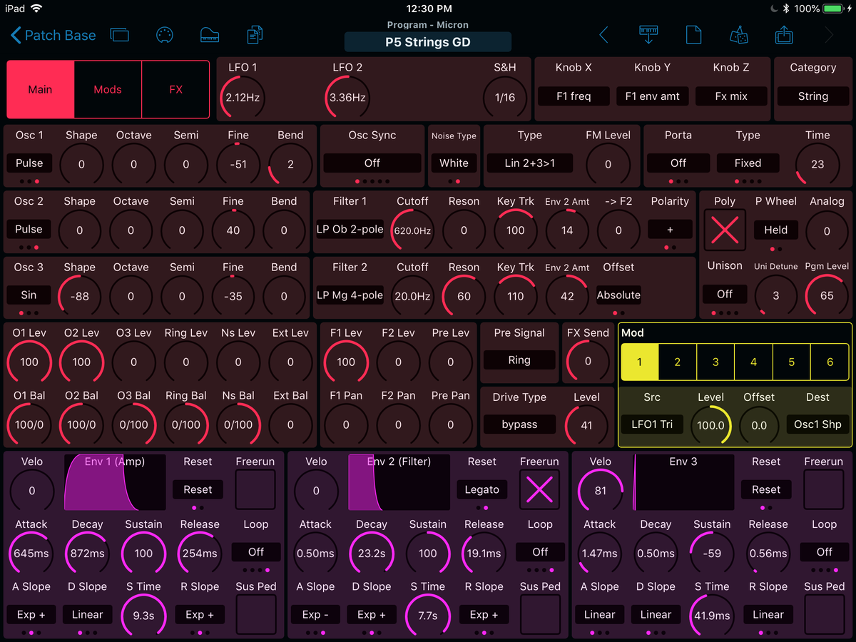 Alesis Micron Editor Screenshot