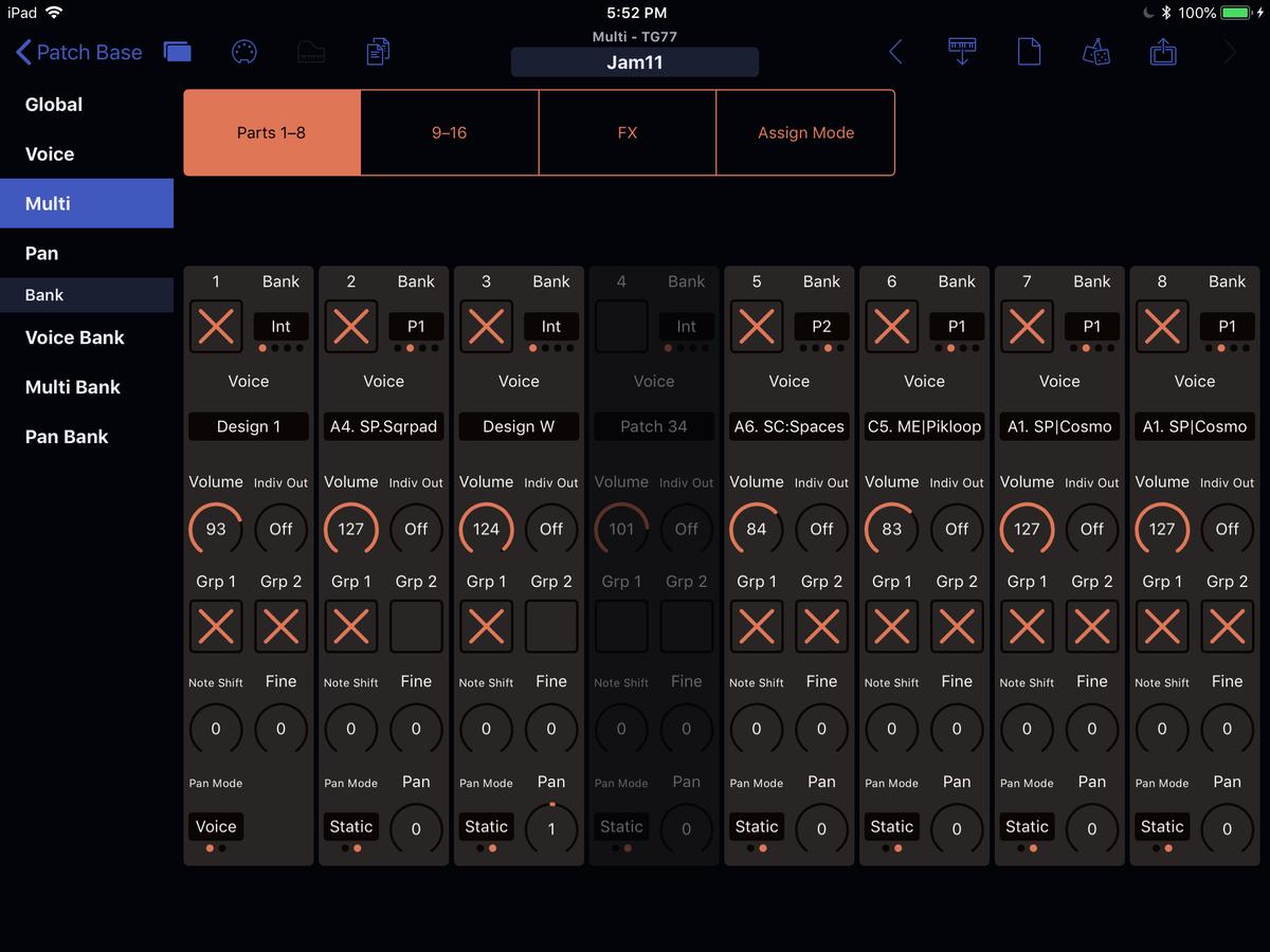 Yamaha TG77 Editor Screenshot