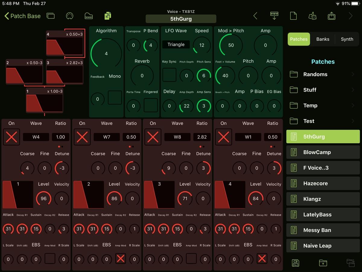 Yamaha TX81Z Editor Screenshot