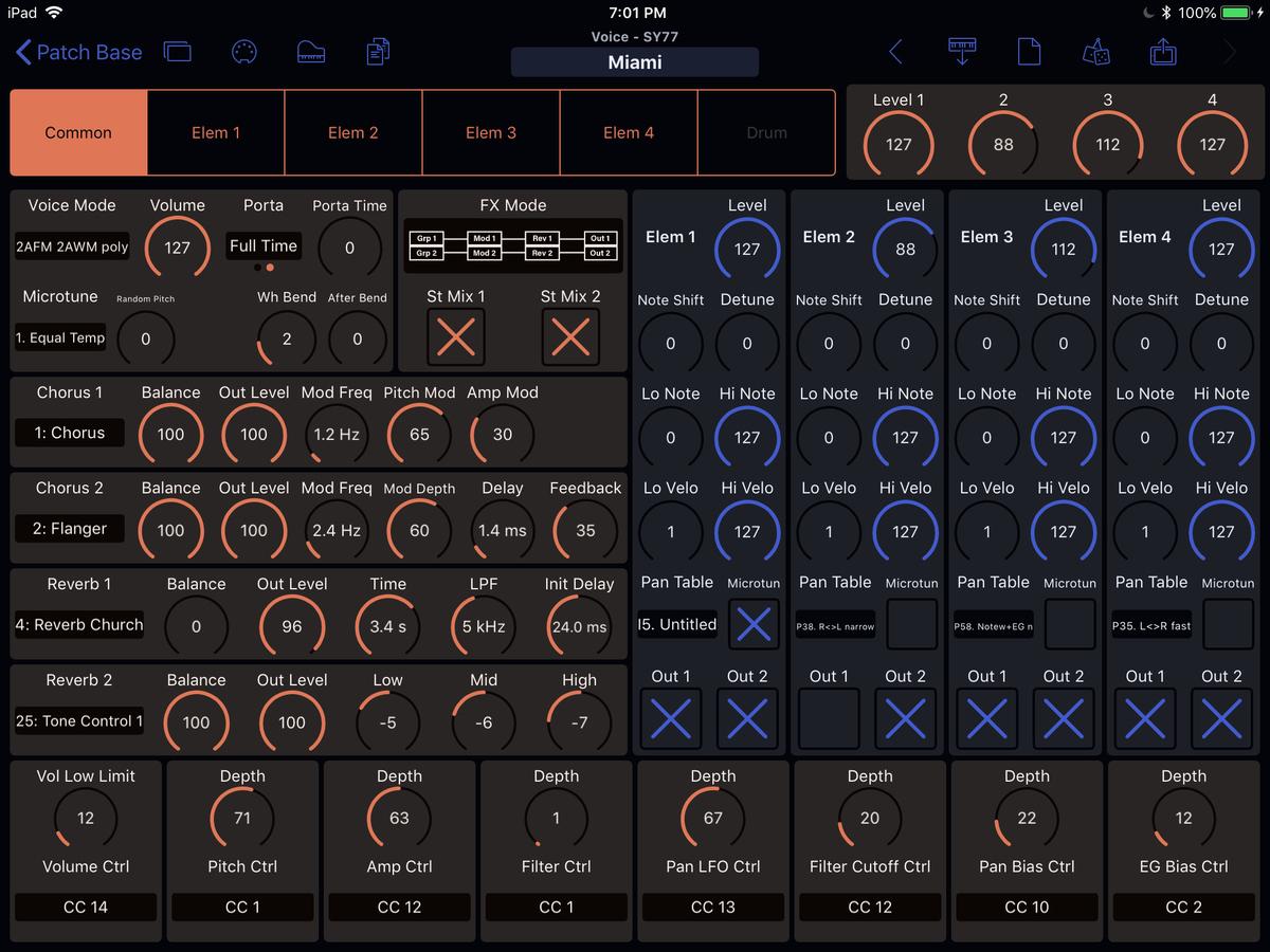 Yamaha SY77 Editor Screenshot
