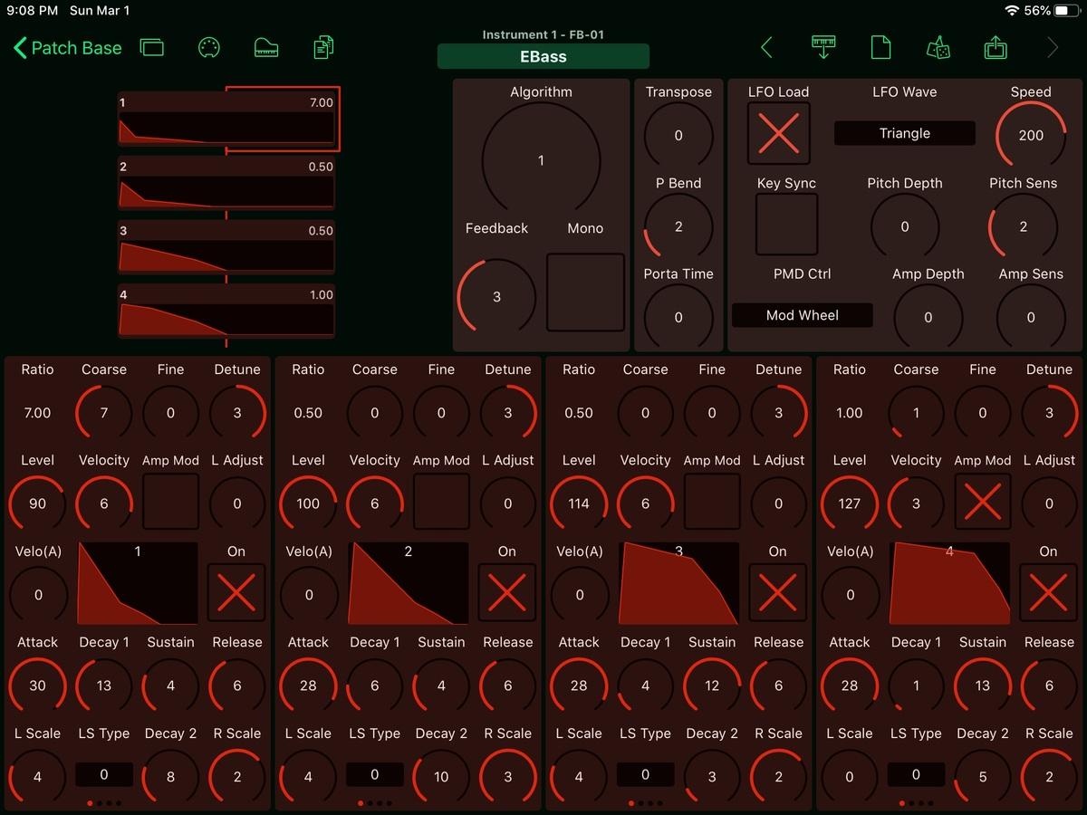 Yamaha FB-01 Editor Screenshot