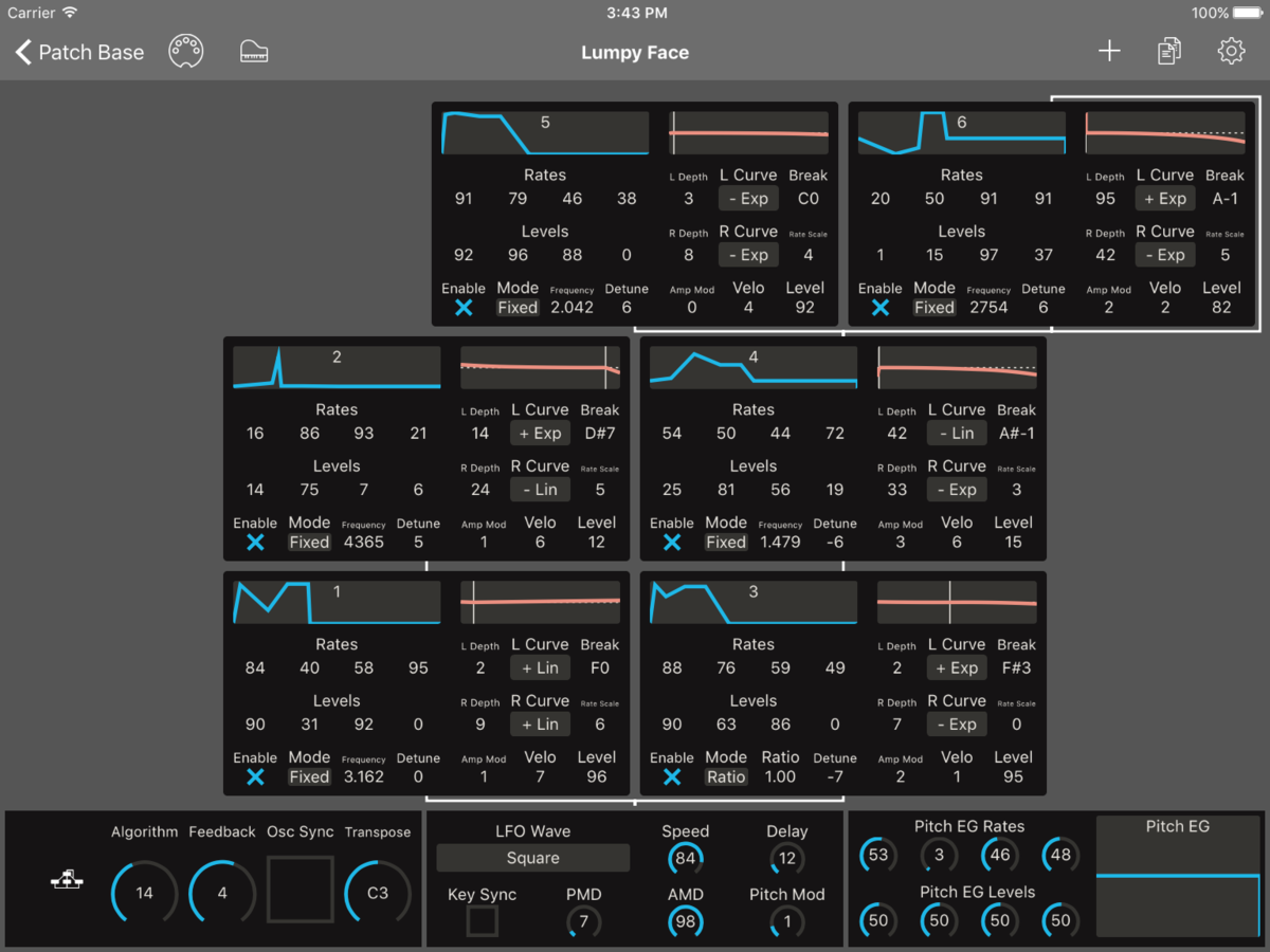 Yamaha TX7 Editor Screenshot