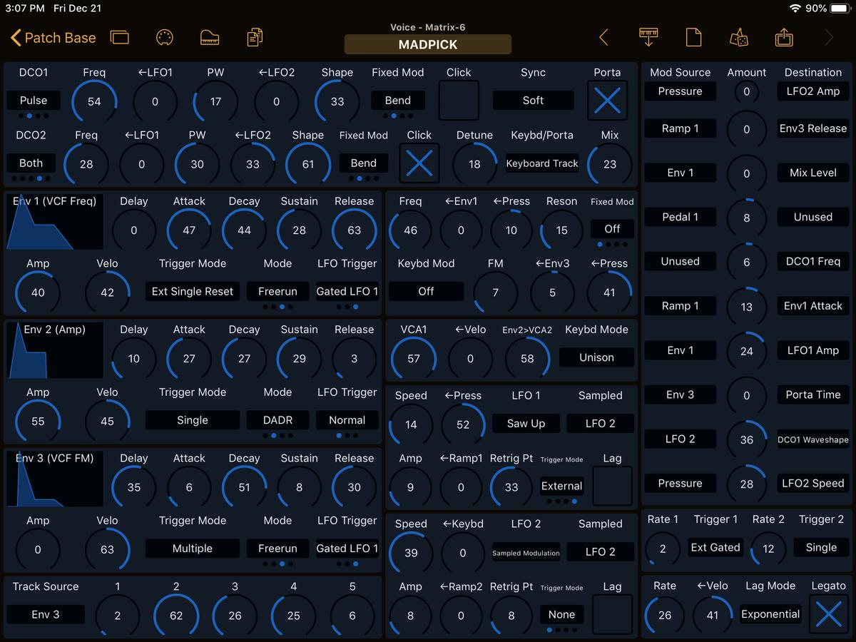 Oberheim Matrix-6 Editor Screenshot