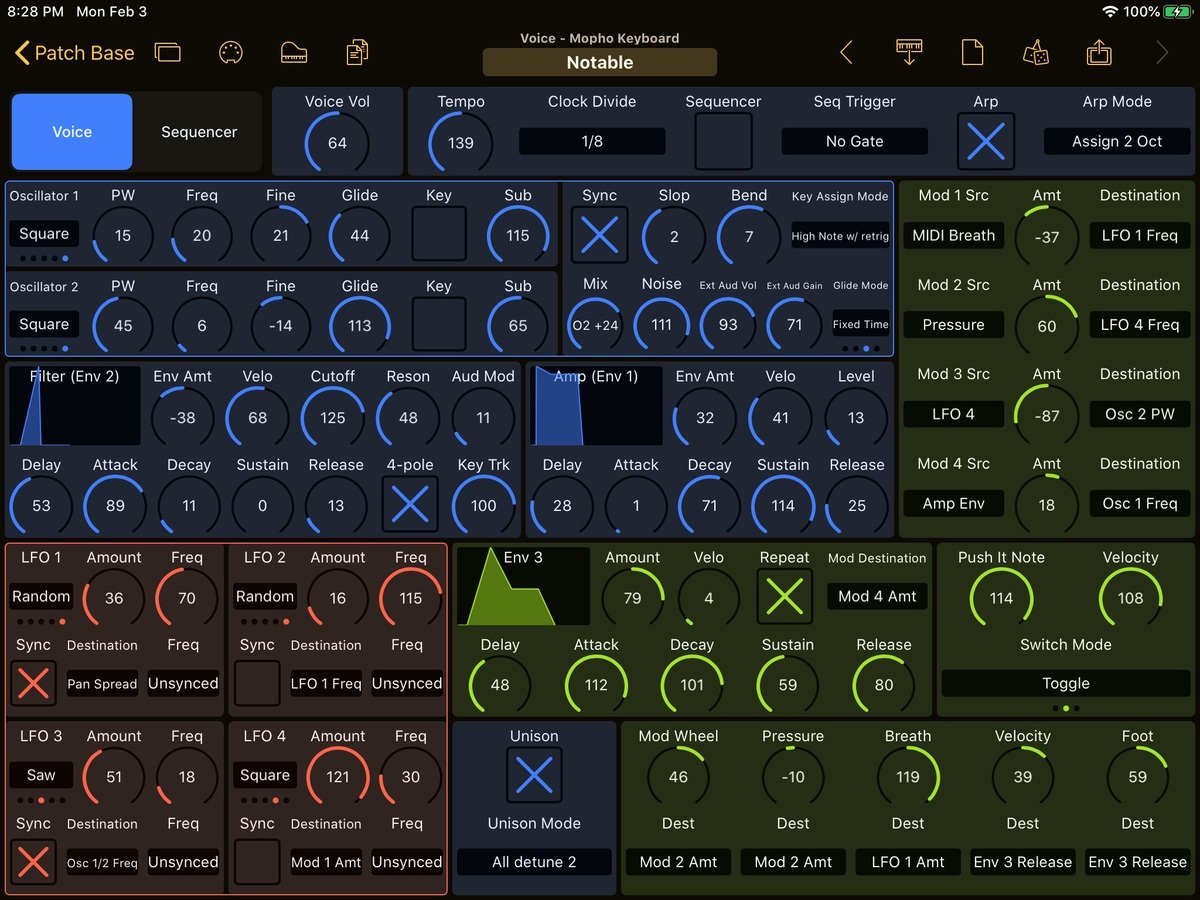 Dave Smith Instruments Mopho Keyboard Editor Screenshot