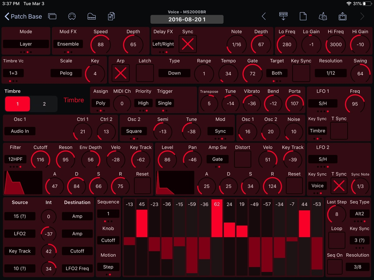 Korg MS2000BR Editor Screenshot