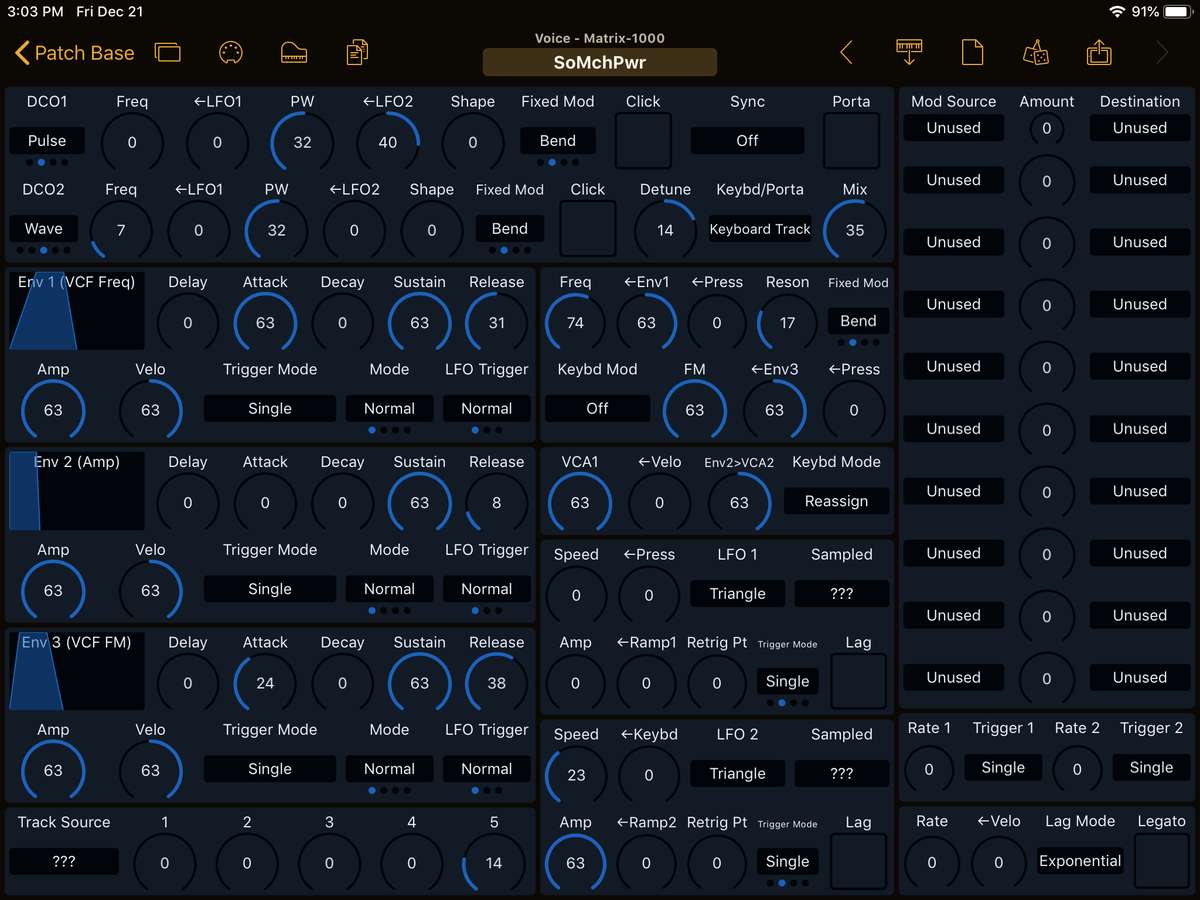 Oberheim Matrix-1000 Editor Screenshot
