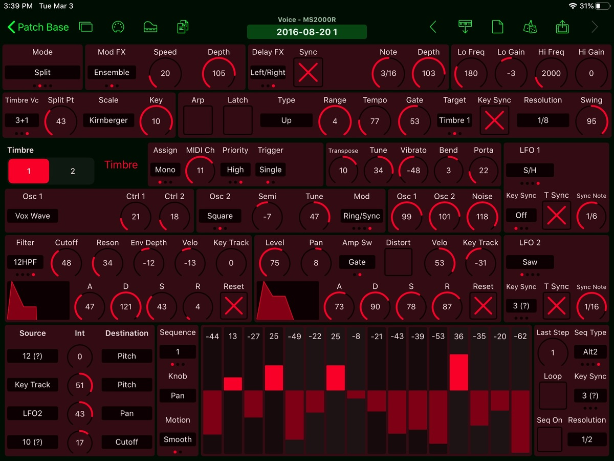 Korg MS2000R Editor Screenshot