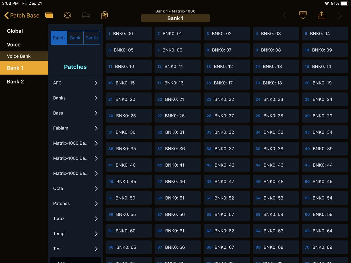 Oberheim Matrix-1000 Editor Screenshot