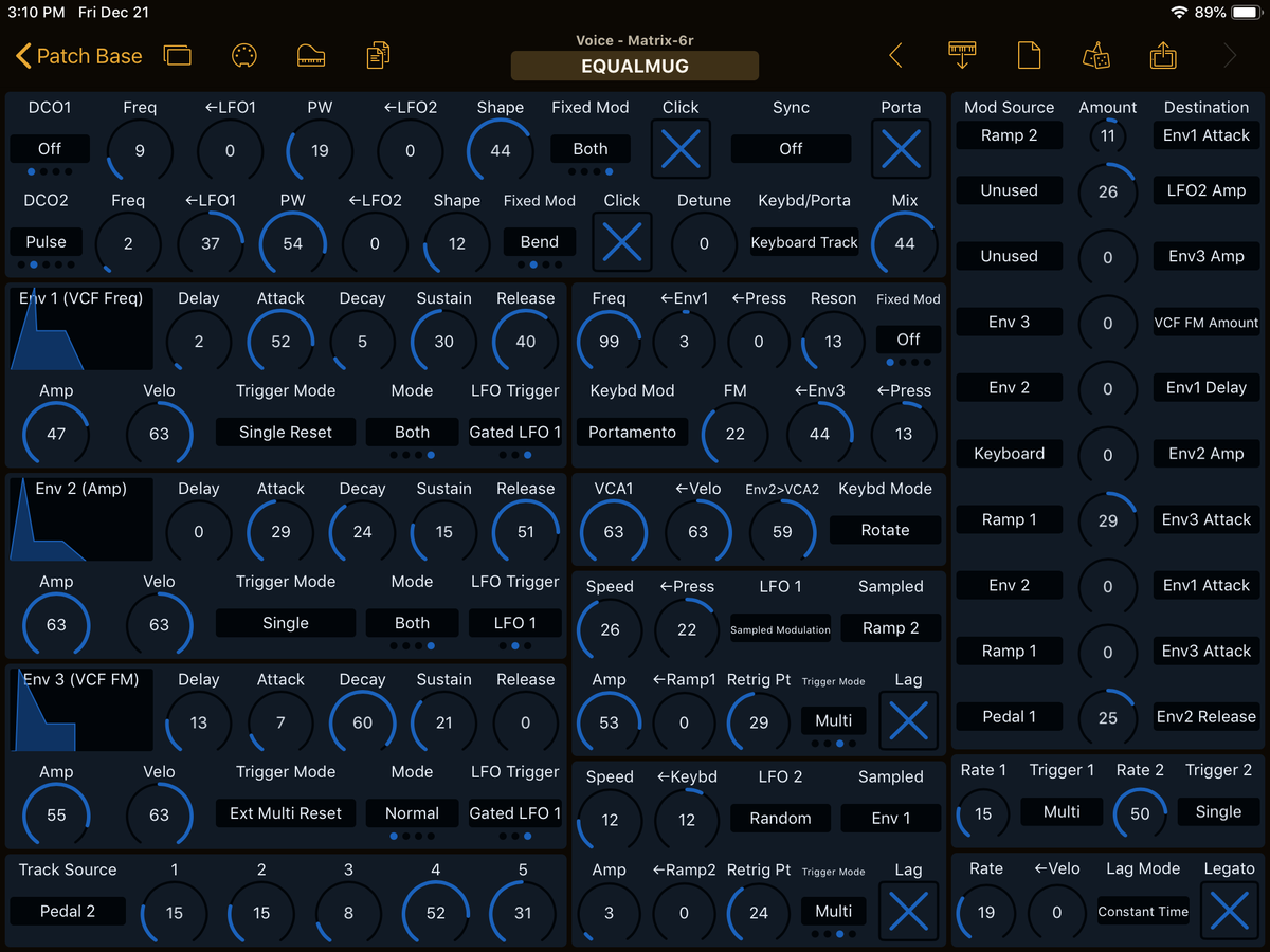 Oberheim Matrix-6R Editor Screenshot
