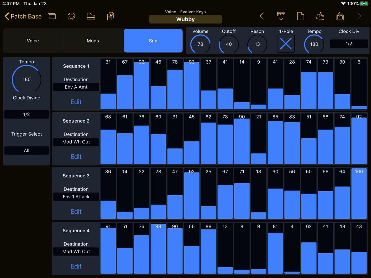 Dave Smith Instruments Evolver Keyboard Editor Screenshot